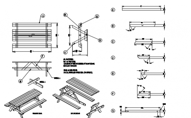 Picnic bench design details dwg file