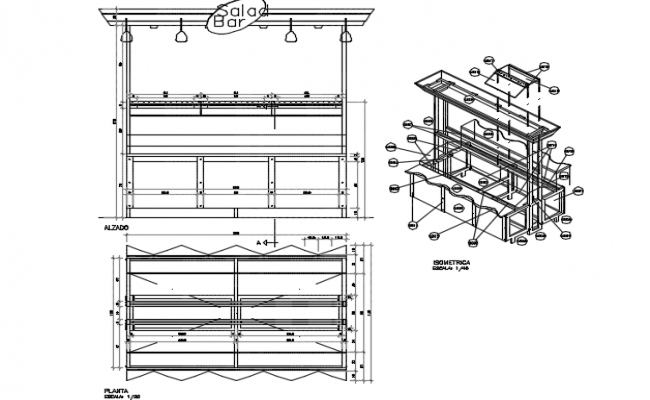 Piece of furniture for salads in self service detail dwg file