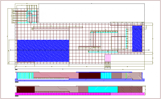 Pillar construction view with plan and section view dwg file