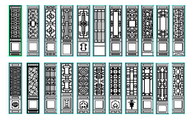 Pillars types of designs dwg file