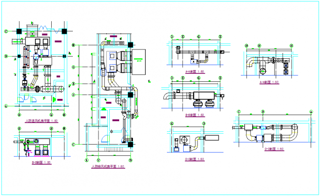 Pipe line view for air line for blower room dwg file