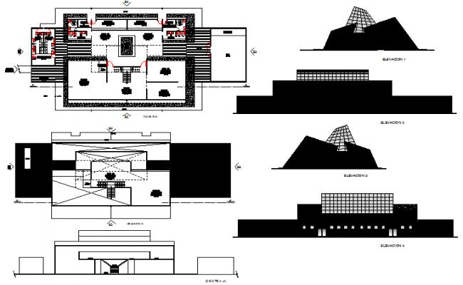 Place museum plan detail dwg file