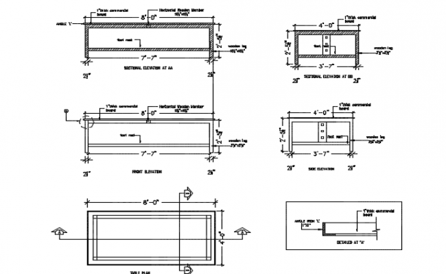 Plan, elevation and section Study table detail dwg file