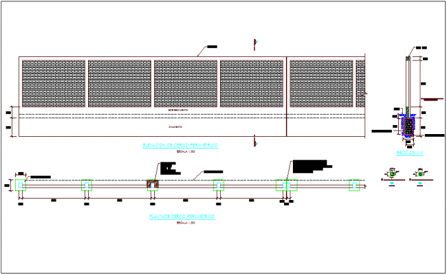 Plan,elevation and section view for construction of wall type fence dwg file