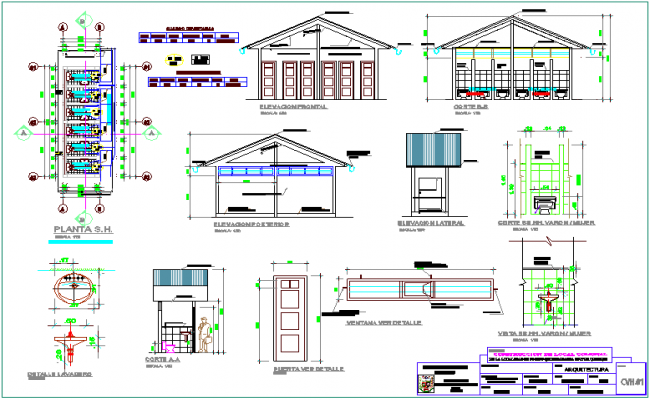 Plan,elevation and section view of bathroom with detail view for community center dwg file