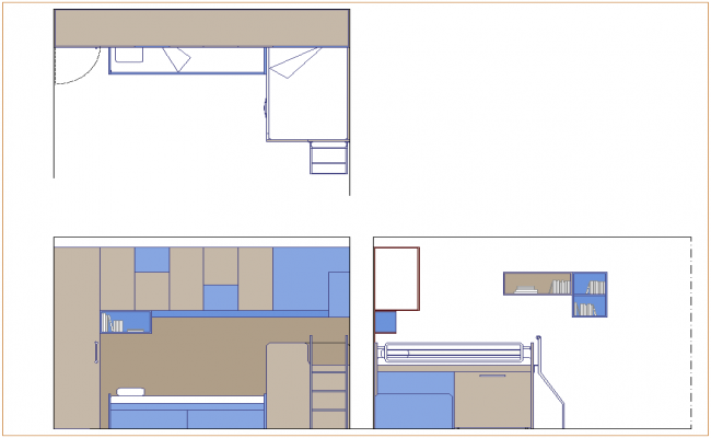 Plan,elevation and side view of single bed dwg file