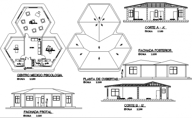 Plan, Elevation and section plan detail dwg file