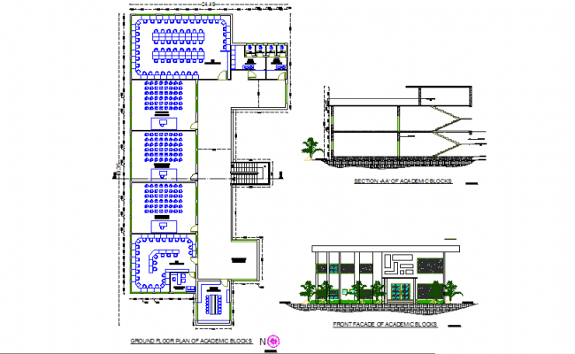 Plan, elevation and section college detail  dwg file