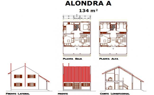 Plan, elevation and section house plan detail dwg file
