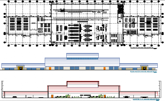 Plan, elevation and section industry detail dwg file