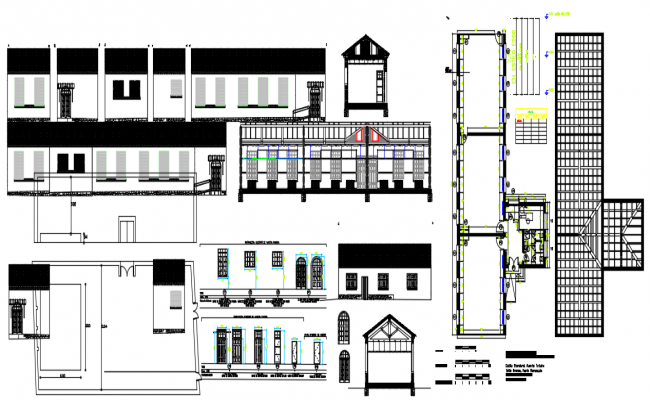 Plan, elevation and section working plan detail dwg file