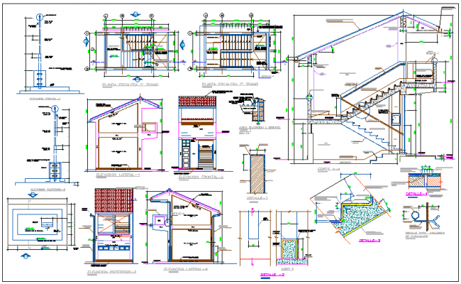 Plan,elevation and construction detail of school dwg file