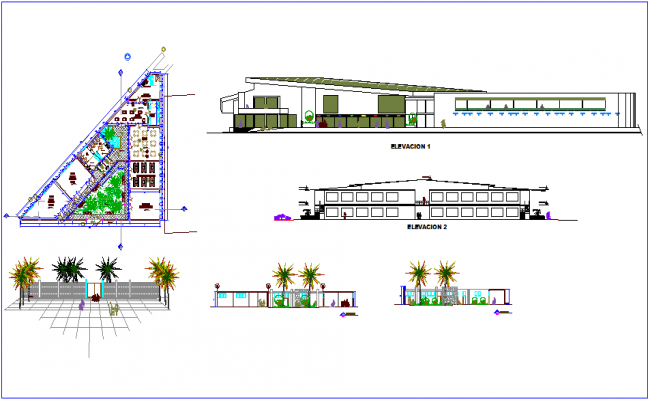 Plan,elevation and section view for education center of nursery dwg file