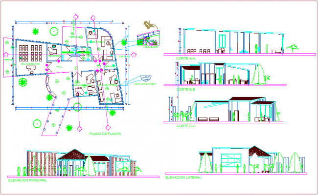 Plan,elevation and section view of admin office dwg file