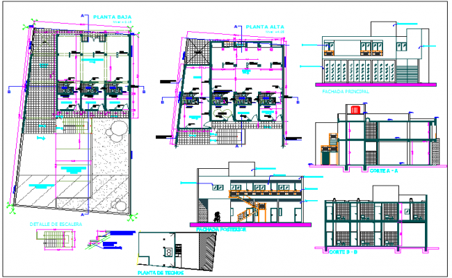Plan,elevation and section view of office building dwg file