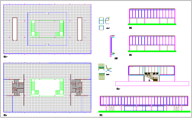 Plan,elevation and section view of structure of office dwg file