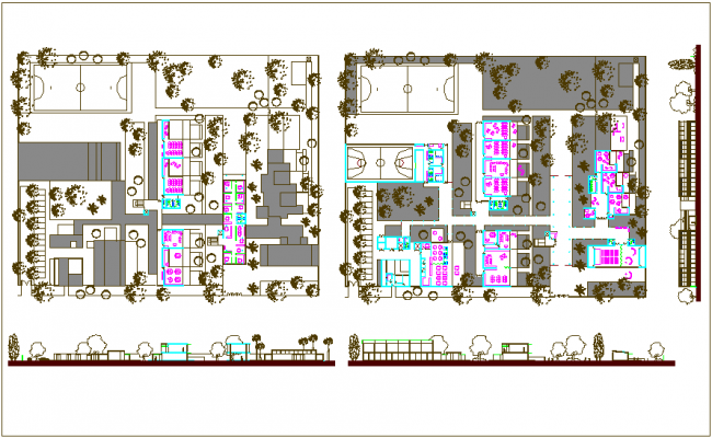 Plan,elevation and side view of school design view dwg file