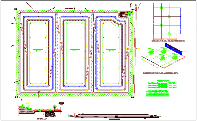 Plan,section and isometric view for land sanitary dwg file