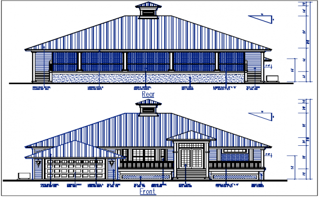 Plan Elevation view of bungalow detail dwg file