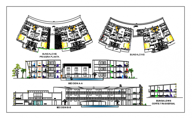 Plan and Exterior elevation of a 3 floored hotel Dwg file