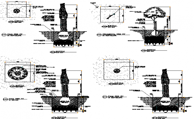 Plan and Section tree detail dwg file