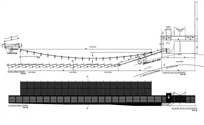 Plan and elevation CAD drawings details of slope ramp dwg file
