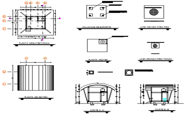 Plan and elevation and section detail dwg file