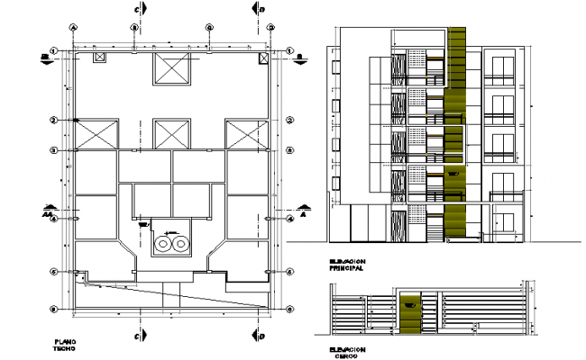 Plan and elevation apartment flat detail dwg file