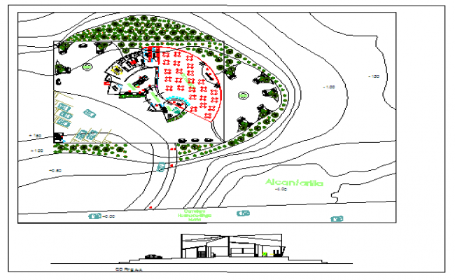 Plan and elevation design of restaurant