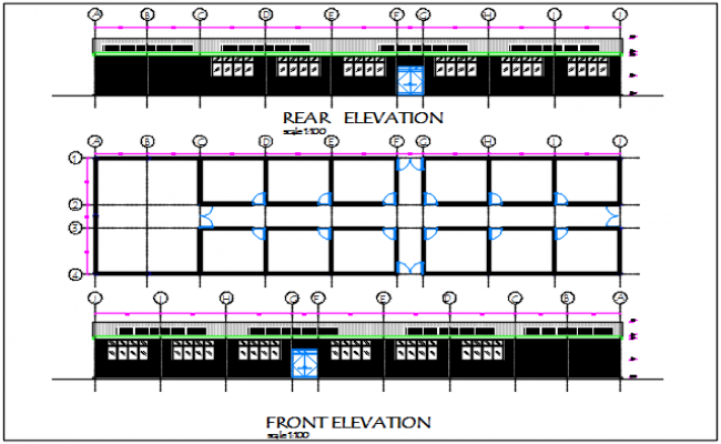 Plan and elevation detail dwg file