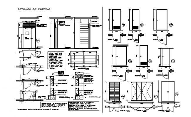Plan and elevation door framing detail dwg file
