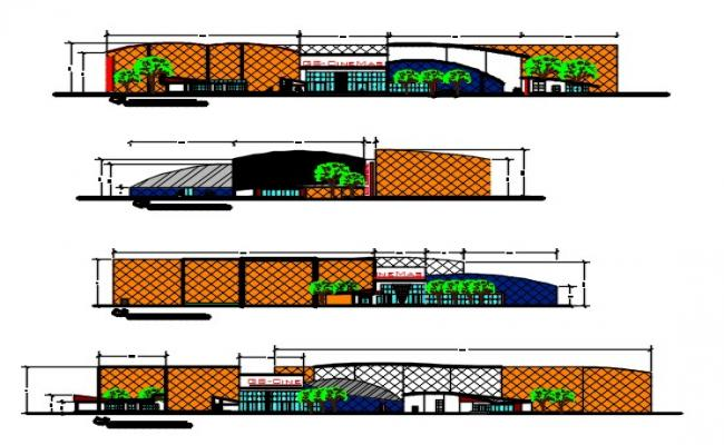 Plan and elevation drawing of  multiplex.