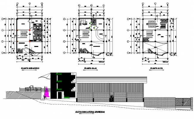 Plan and elevation house plan autocad file
