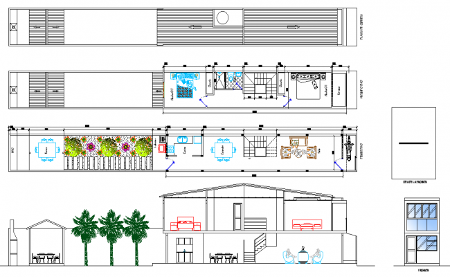 Plan and elevation little lot house autocad file