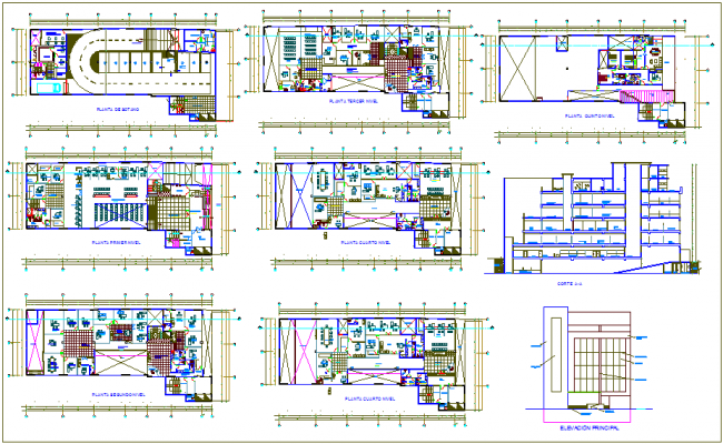 Plan and elevation of bank with its residential view dwg file