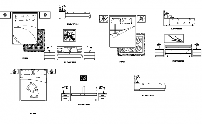Plan and elevation of beds