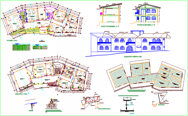 Plan and elevation of municipality building dwg file