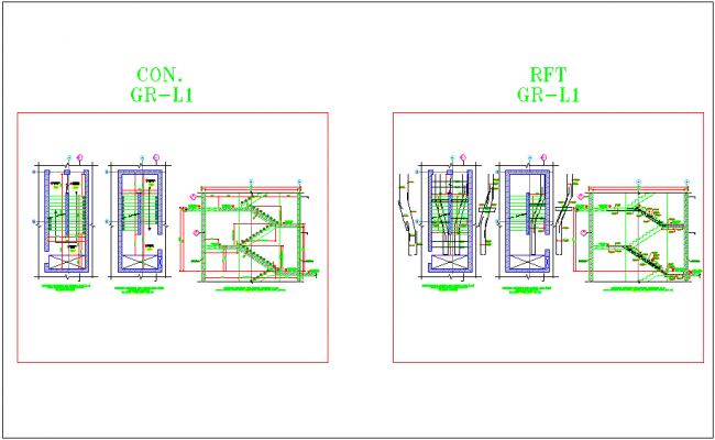 Plan and elevation of stair construction dwg file