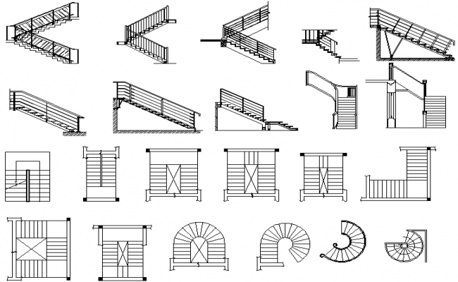 Plan and elevation stair detail dwg file