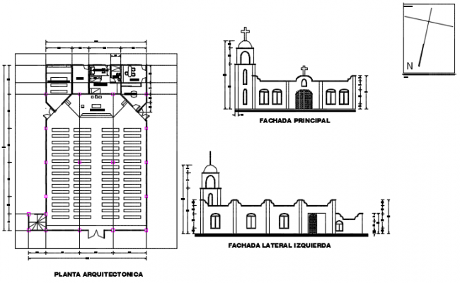 Plan and elevation temple detail dwg file