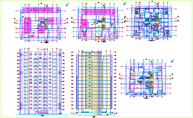 Plan and elevation view of apartment with first to fifteen floor view in elevation dwg file