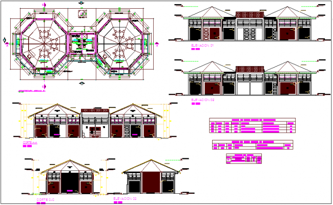 Plan and elevation view of education center with sectional view dwg file