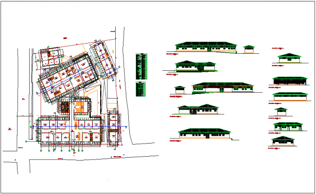 Plan and elevation view of hospital view dwg file