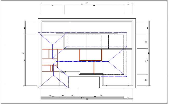Plan and elevation view of house dwg file
