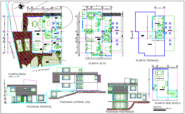 Plan and elevation view of house with terrace plan dwg file