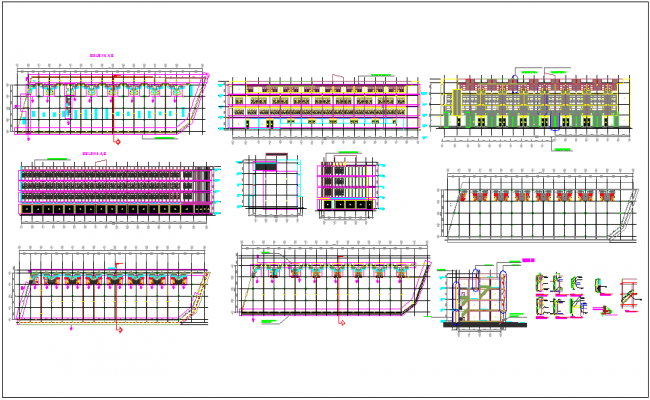 Plan and elevation view with detail view of building A and B dwg file