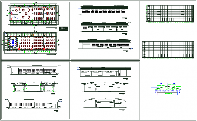 Plan and elevation view with roof view of education center dwg file