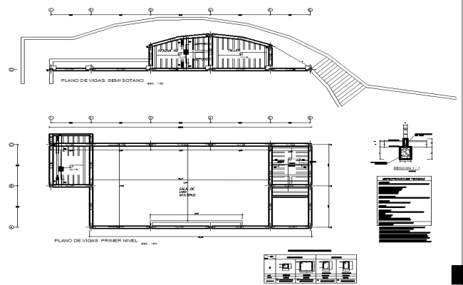 Plan and elevation working detail dwg file