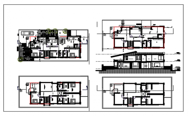 Plan and exterior elevation of a ground plus one floor bungalow dwg file