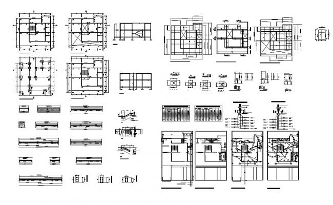 Plan and foundation detail of a structure layout file in autocad format,